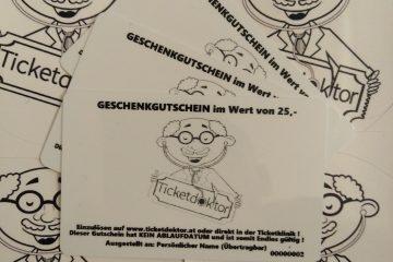 Ticketdoktor Geschenkgutschein im Wert von 25 Euro